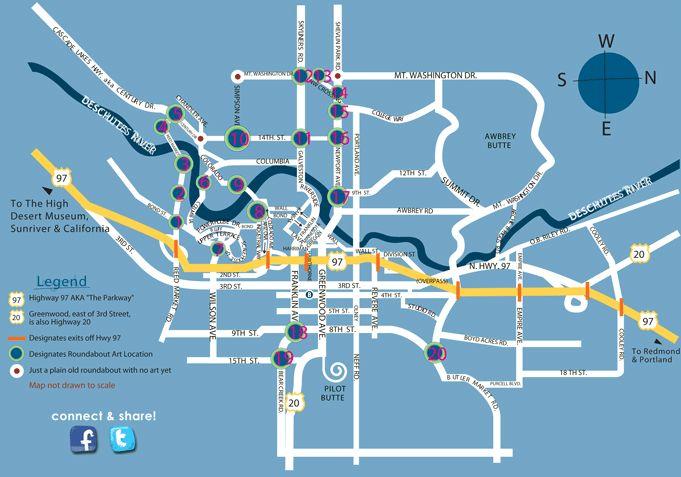 Roundabout Art Route Map Bend Oregon